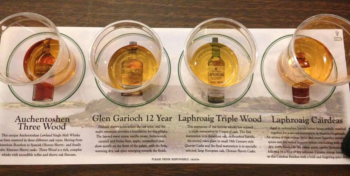 New Hampshire Highland Games & Festival Laphroaig scotch tasting lineup.