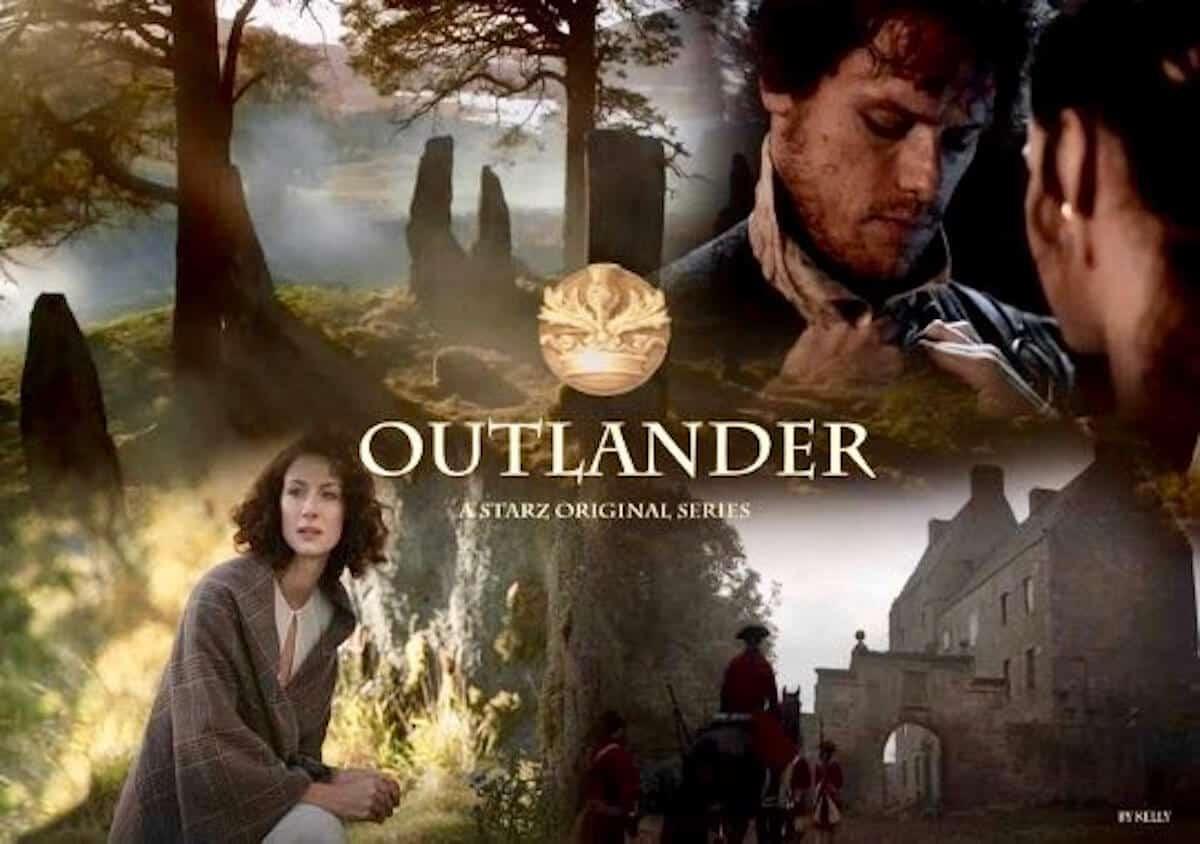 Scenes from Outlander STARZ season 1 promotional poster