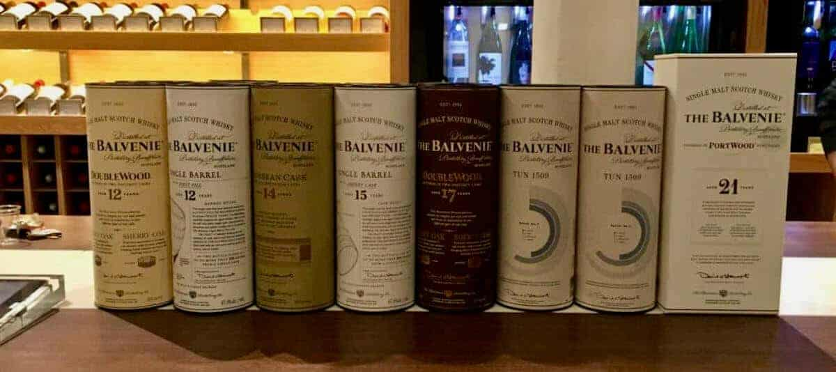 The Balvenie sleeves lineup on a counter.