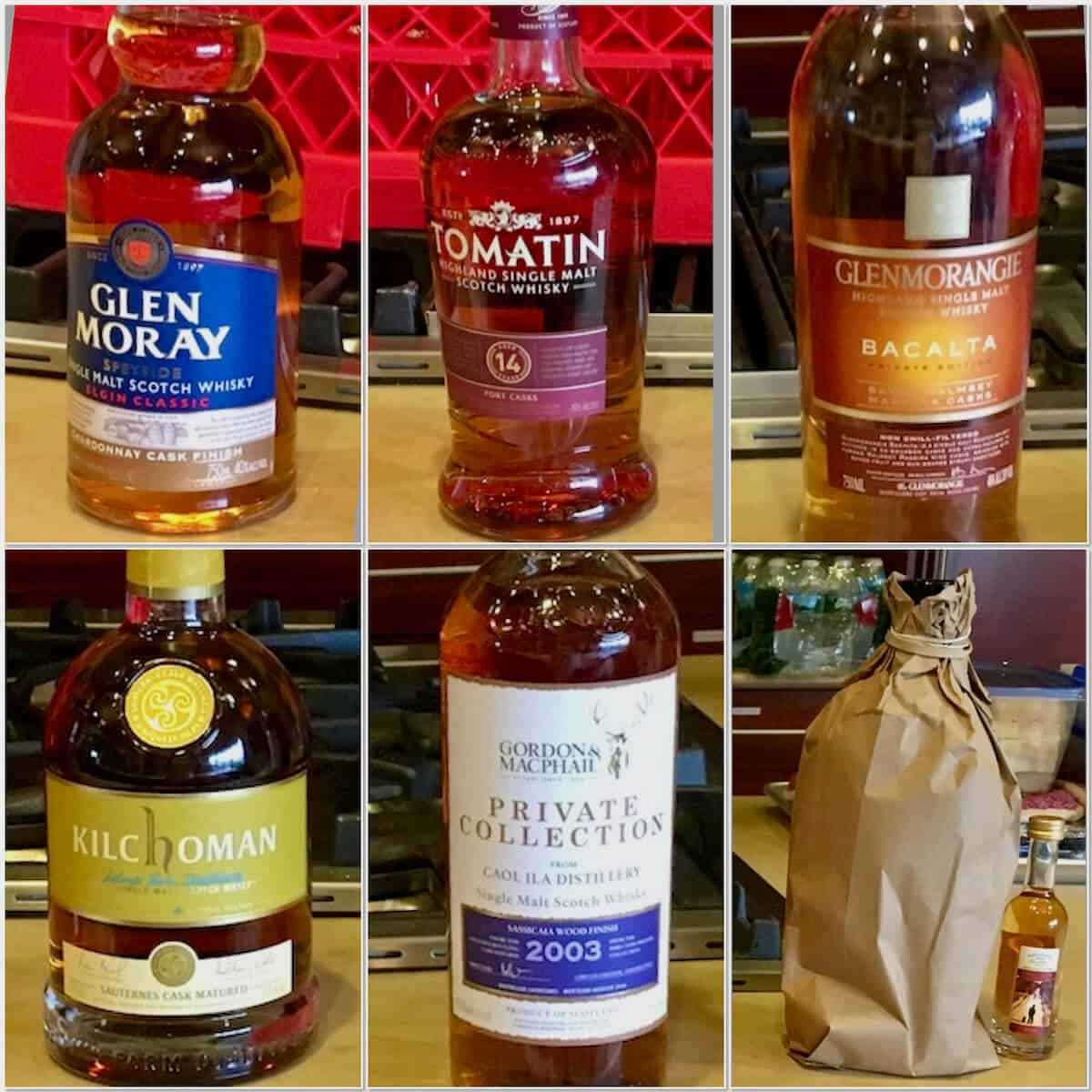 Exotic cask finishes lineup in bottles (plus the mystery pour in a bag).