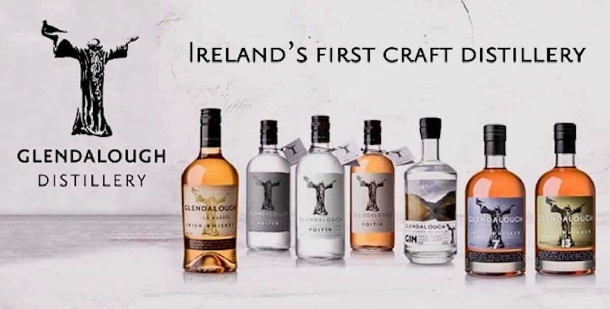 The entire lineup from Glendalough Distillery in bottles banner.