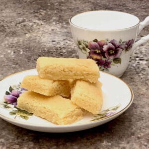 homemade shortbread closeup with teacup