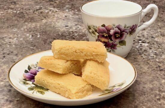 homemade shortbread closeup with teacup