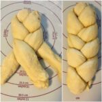 braiding challah dough