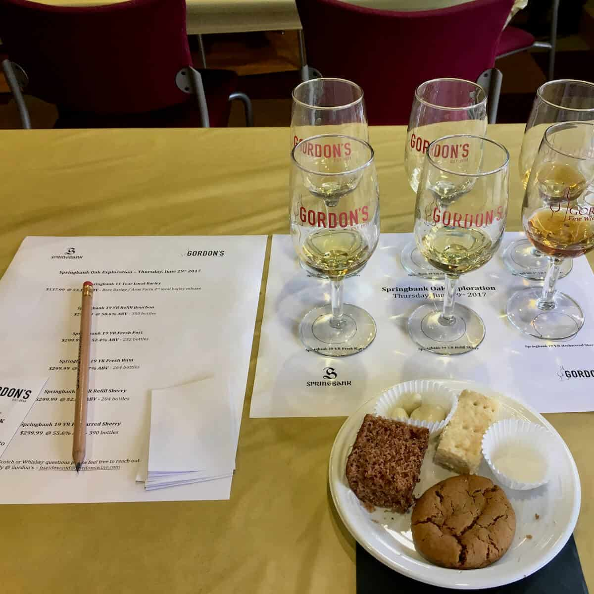 Plate of snacks with samples poured in glasses & price list on a table.