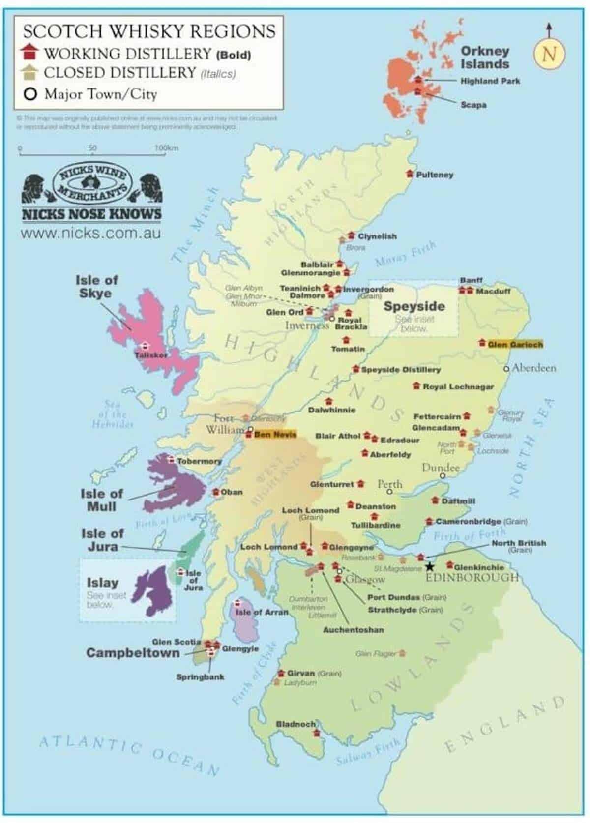 Scotland Distillery Map.
