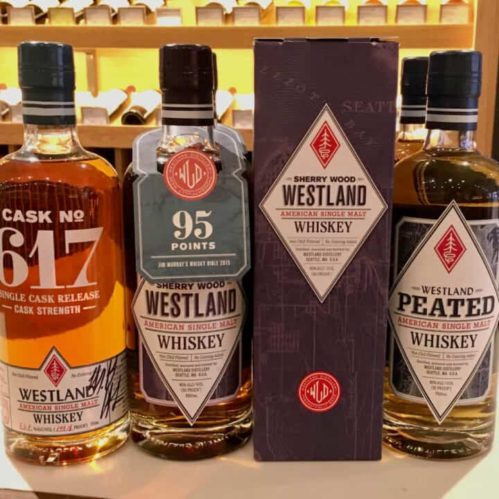 Westland American Single Malt Whiskey lineup on a counter.