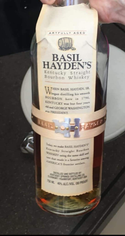 Basil Hayden's Kentucky Straight Bourbon Whiskey bottle.