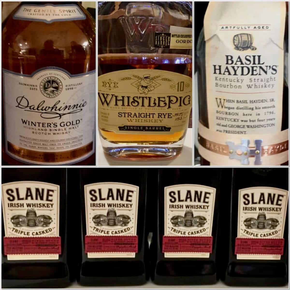Collage of Dalwhinnie, Slane, Basil Haydens, and WhistlePig bottles.