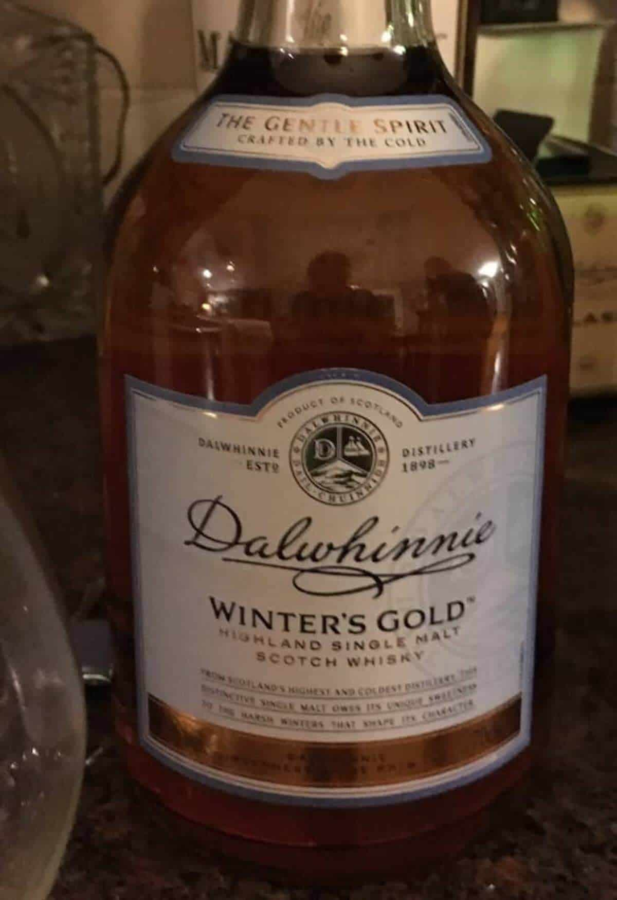 Dalwhinnie Winter's Gold bottle on a counter.