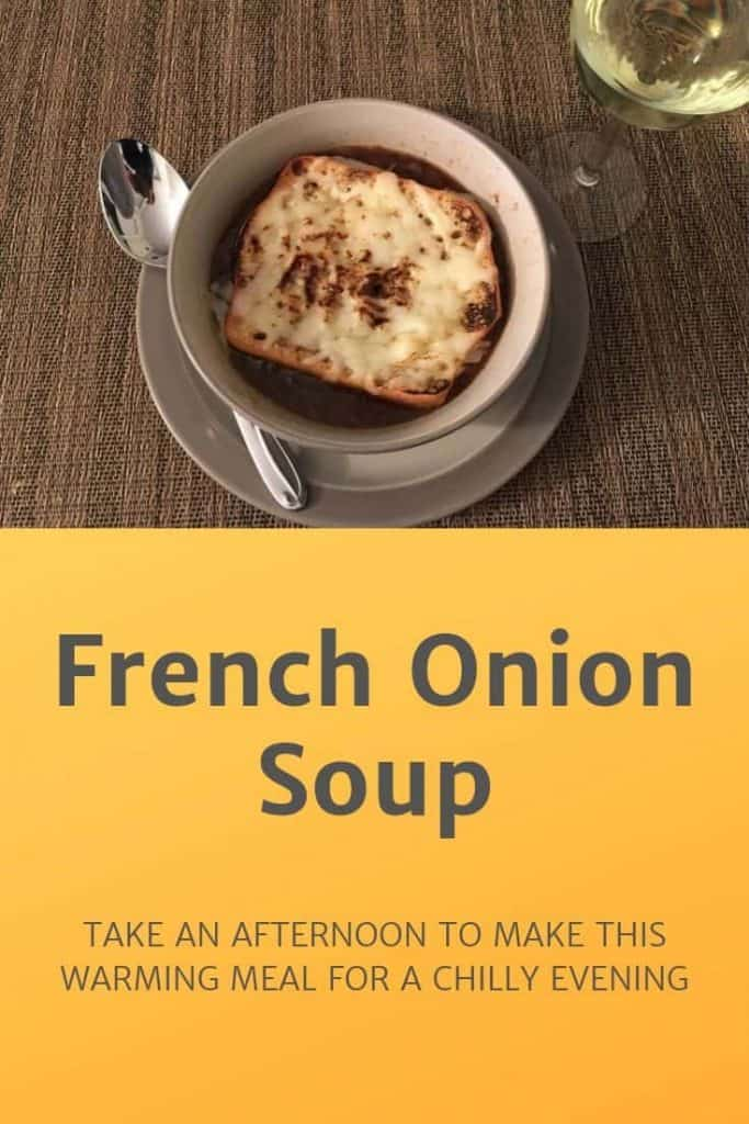French Onion soup in a bowl Pinterest banner
