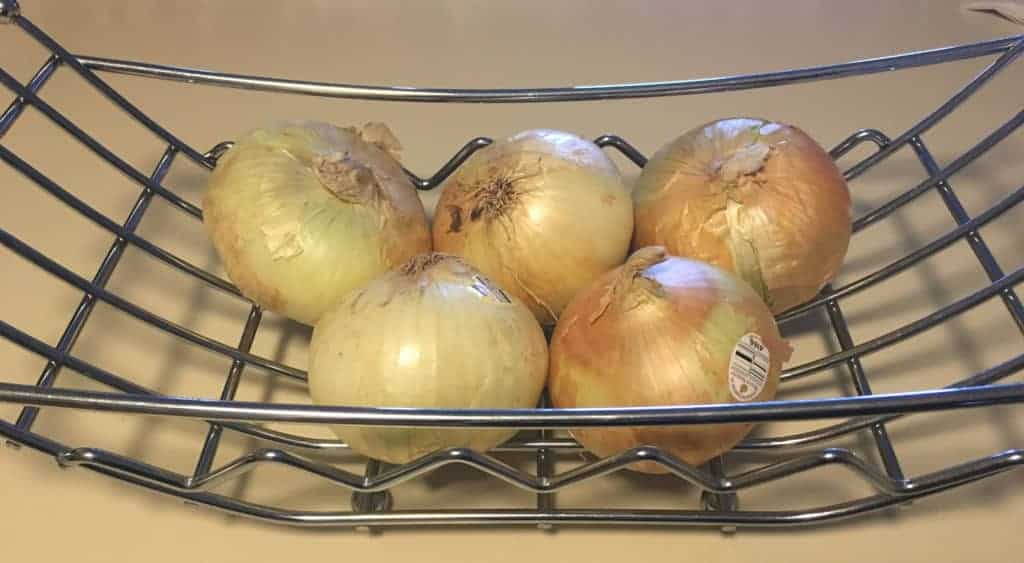 A basket full of Sweet Vidalia onions for French Onion soup