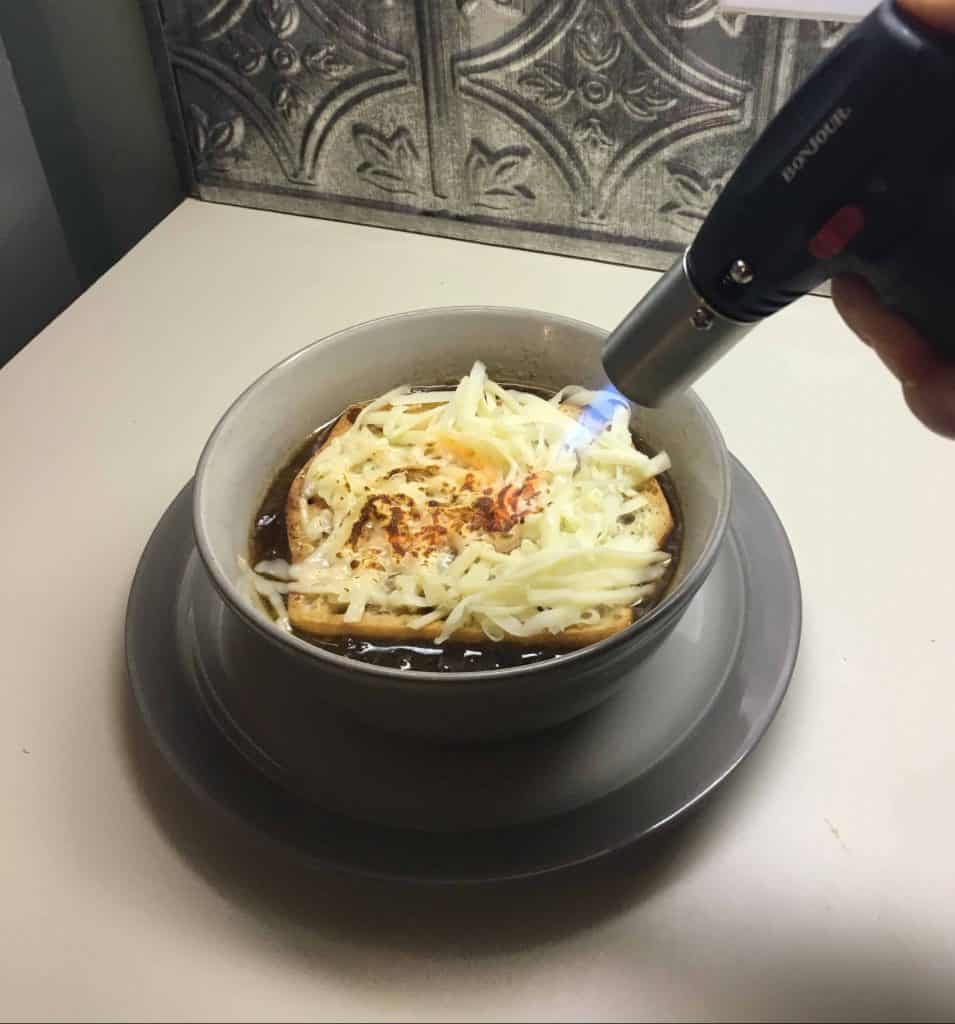 Torching the French Onion soup