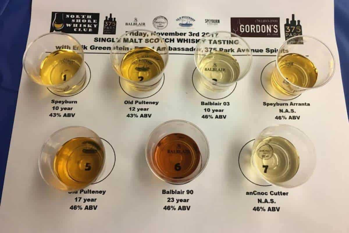 Overhead view of 375 Park Ave Spirits Single Malt Scotch Whisky Tasting lineup samples on a labelled mat.