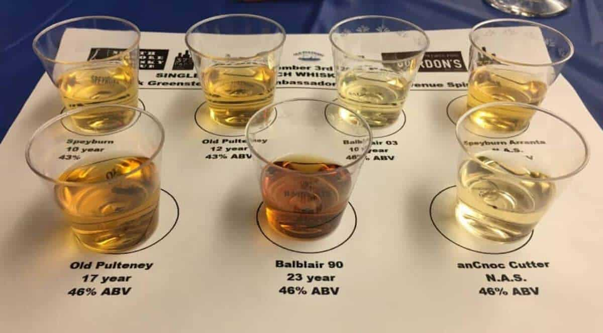 Sideways view of 375 Park Ave Spirits Single Malt Scotch Tasting lineup samples on a labelled mat.