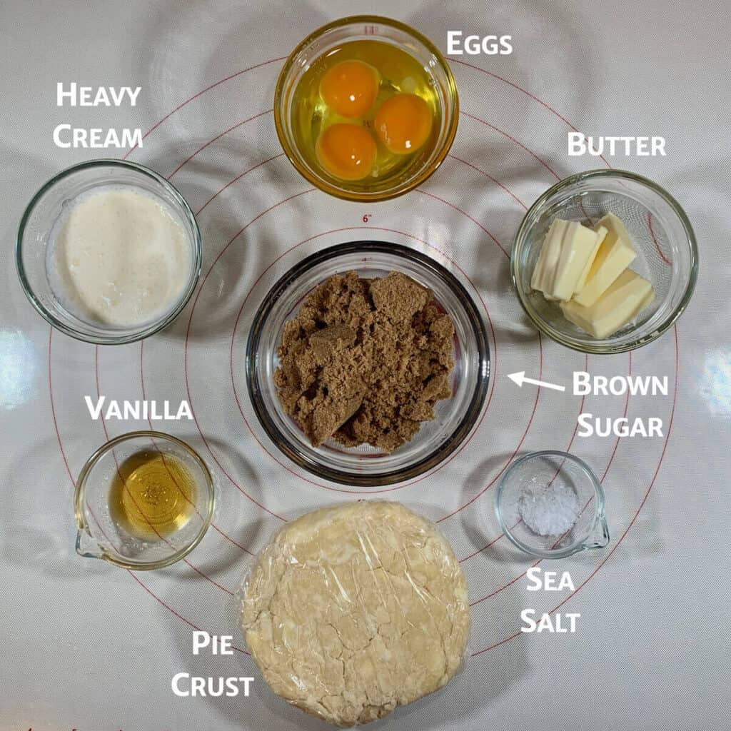 Ingredients for Butterscotch Pie from overhead marked