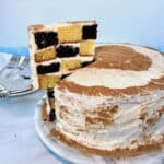 chocolate and vanilla checkerboard cake slice lifted from cake