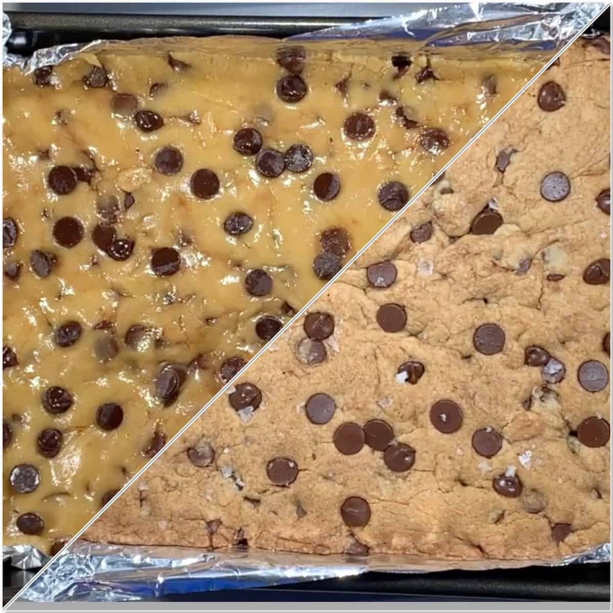 Chocolate Chip Cookie Bars before & after baking collage