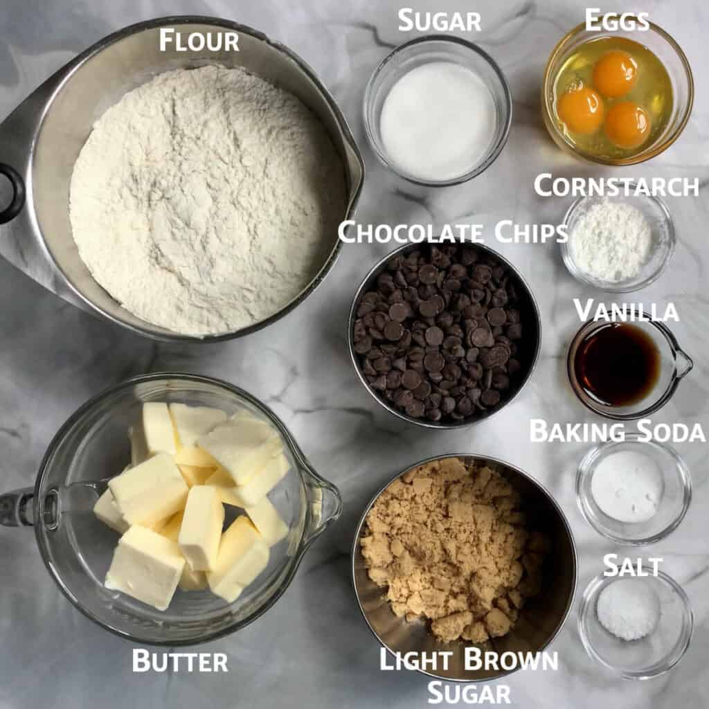 Brown Butter Chocolate Chip Cookie Bars ingredients overhead