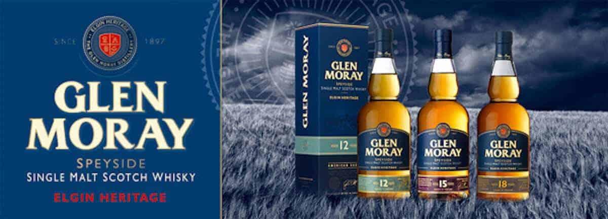 Glen Moray Single Malt Scotch Whisky advertising banner.