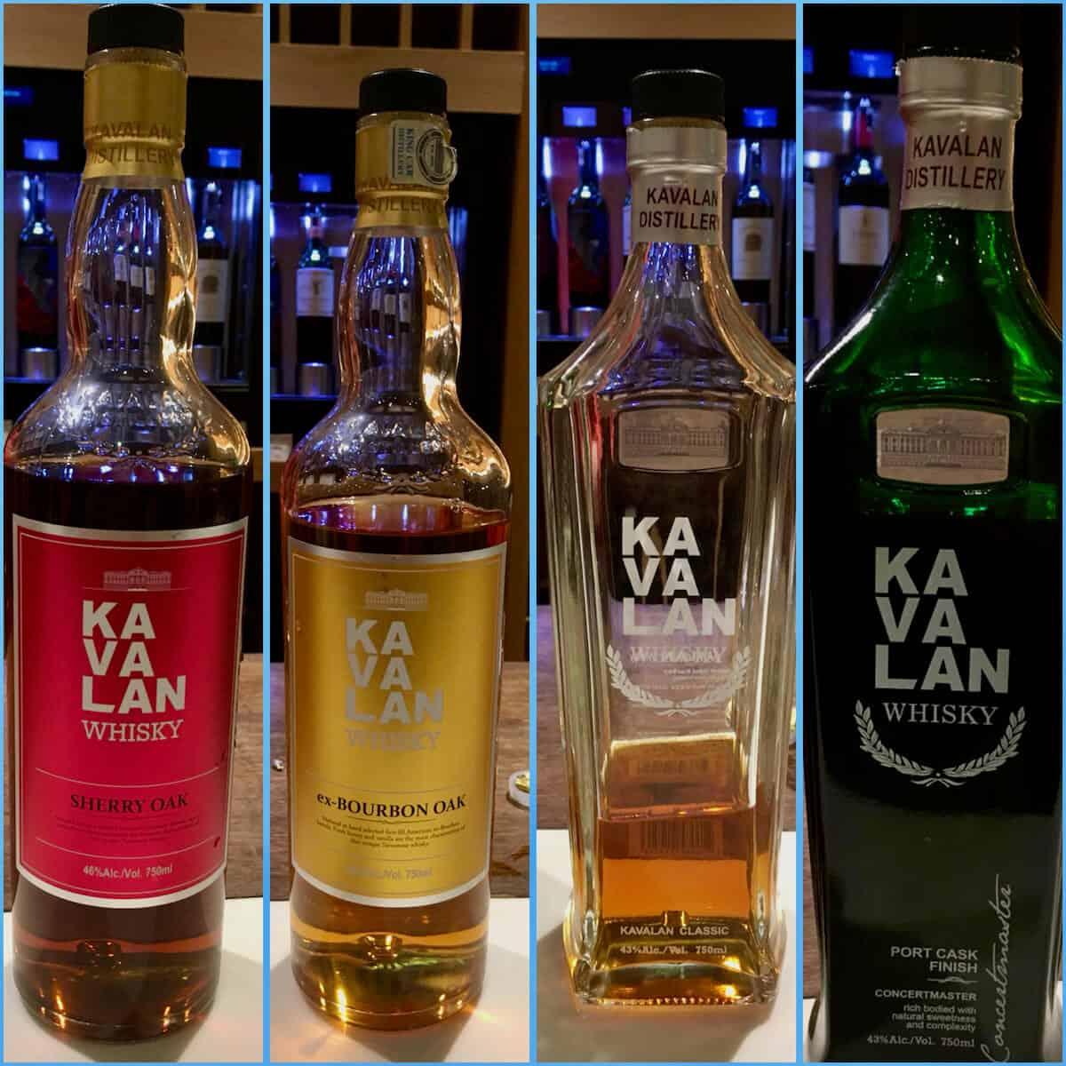 Collage of Kavalan lineup in bottles on a counter.