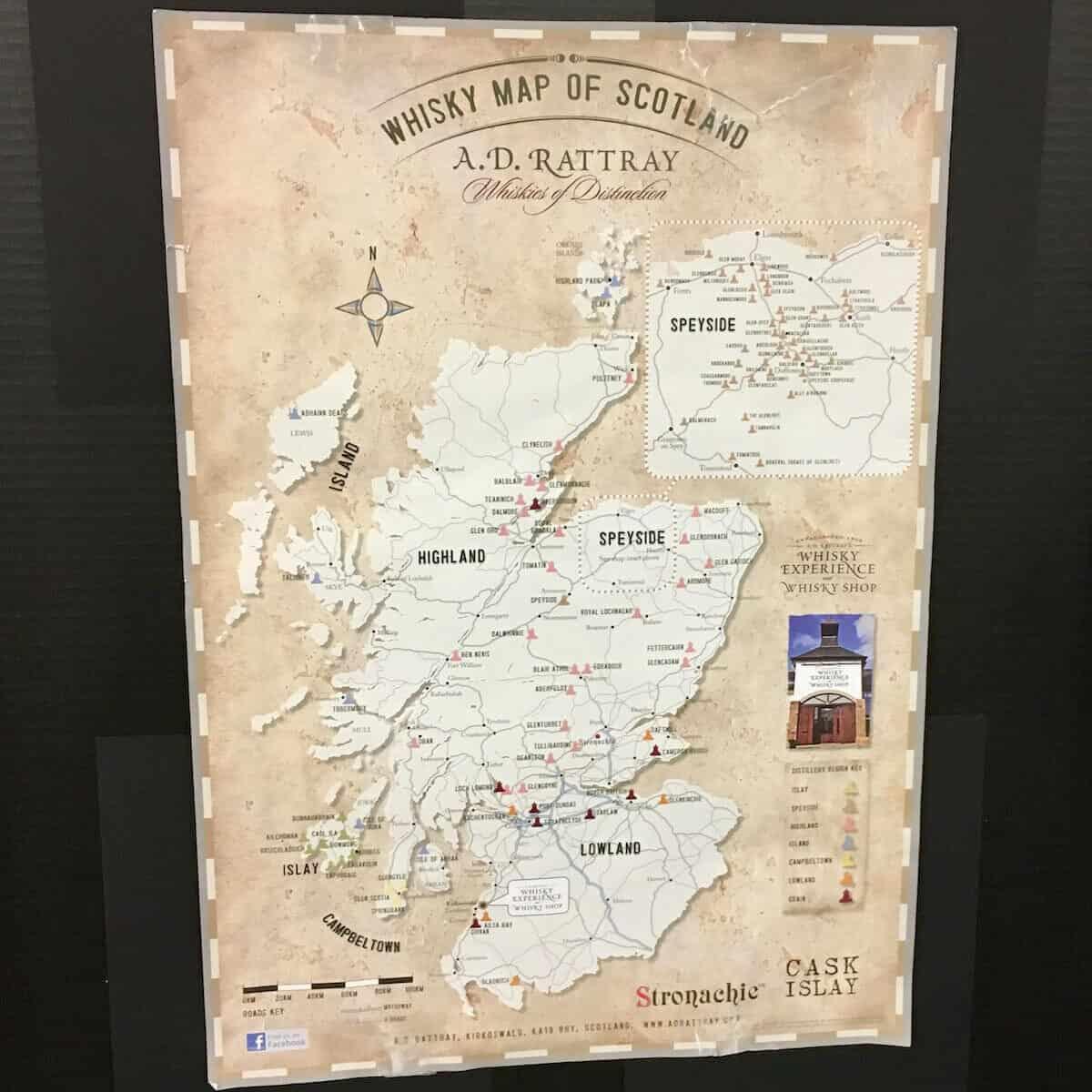 Map of Scotland's scotch regions.