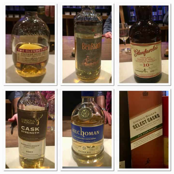 Collage of scotch whisky lineup bottles under $70 on a counter.