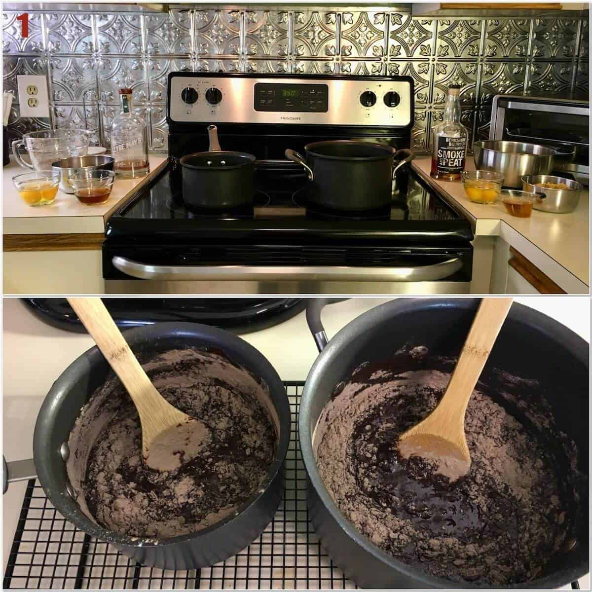 Collage of making bourbon brownie batter on a stove.