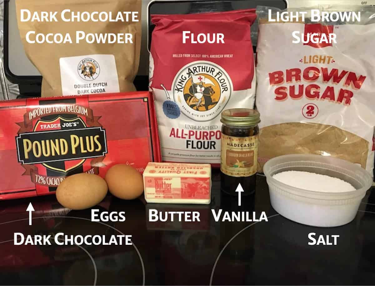 Bourbon brownie ingredients (minus the bourbon) on a stove.