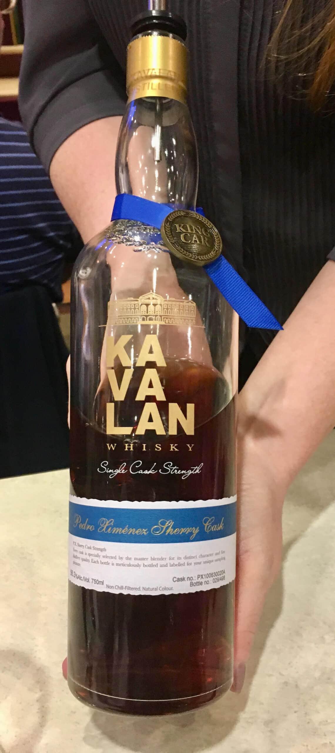 Kavalan Pedro Ximenez Sherry Cask whisky bottle.