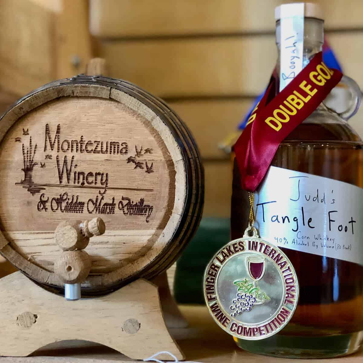 Hidden Marsh Distillery mini wine cask & bottle with award.