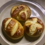 sourdough pretzels plated overhead closeup