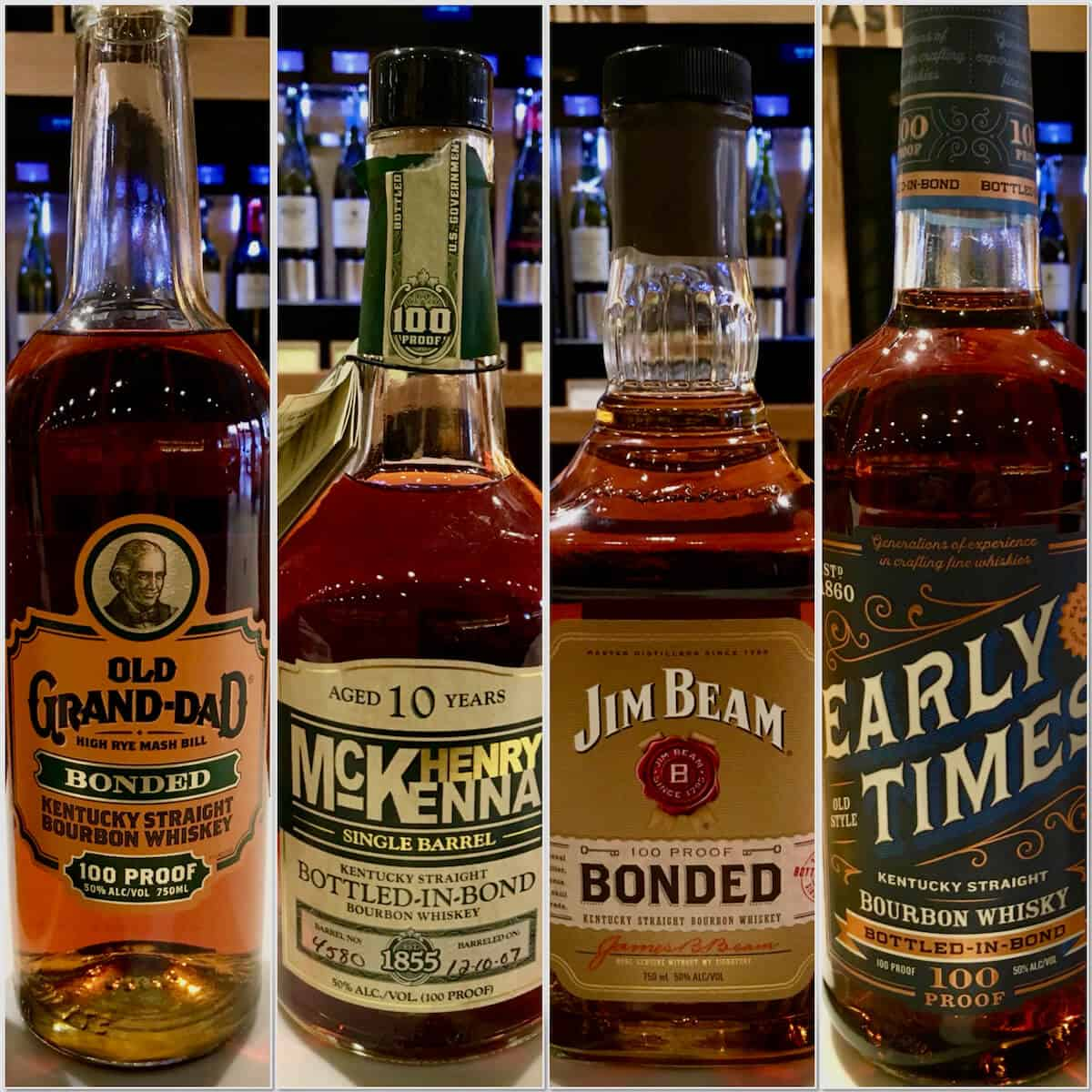 Collage of Old Grand-Dad, Henry McKenna, Jim Beam Bonded, Early Times in bottles.