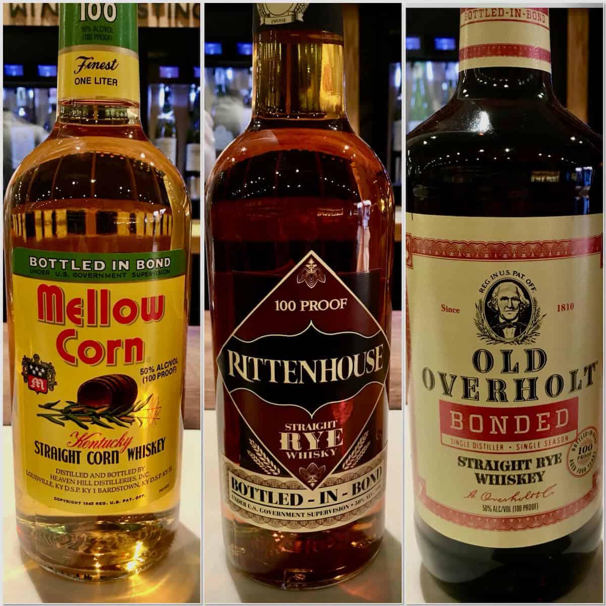 Collage of Mello Corn, Rittenhouse, Old Overholt bottled in bond bottles.