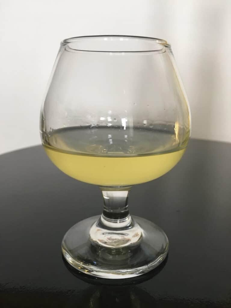 homemade limoncello in a glass