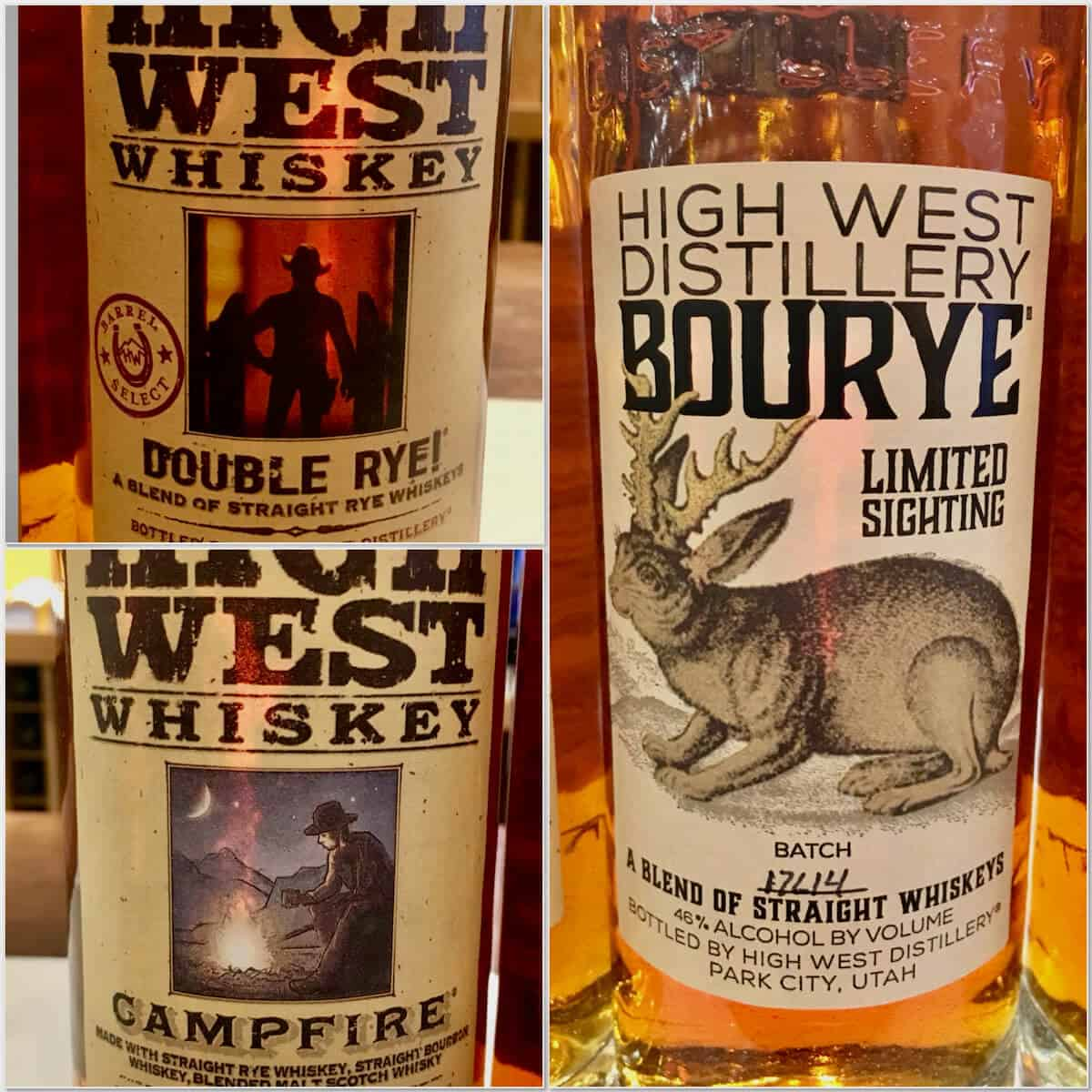 Collage of High West Campfire Rye, Bourye, & Double Rye bottles.