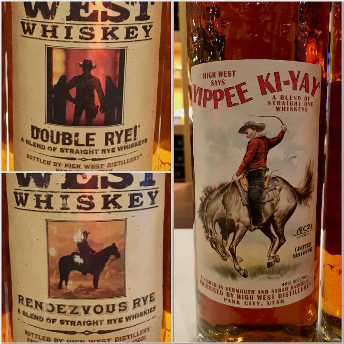 Collage of High West Double rye, Rendezvous Rye, & Yippee Ki-Yay bottles.