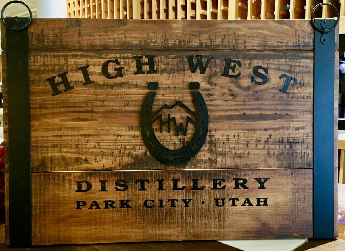 High West Distillery wooden sign.