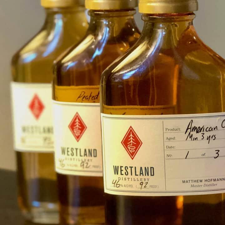 Westland American Single Malt sample bottle lineup on a table.