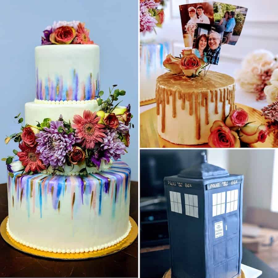 DIY wedding cake, anniversary cake, and Tardis cake collage