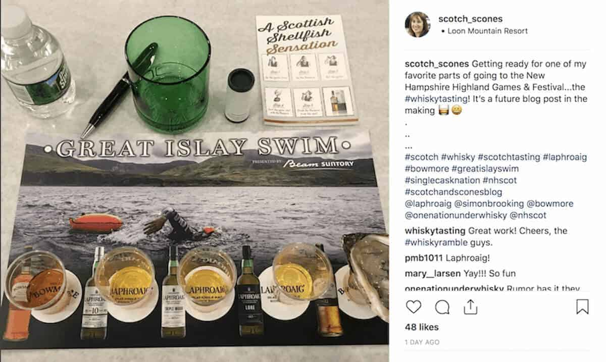 Laphroaig's tasting guide from the Great Islay as an Instagram post.