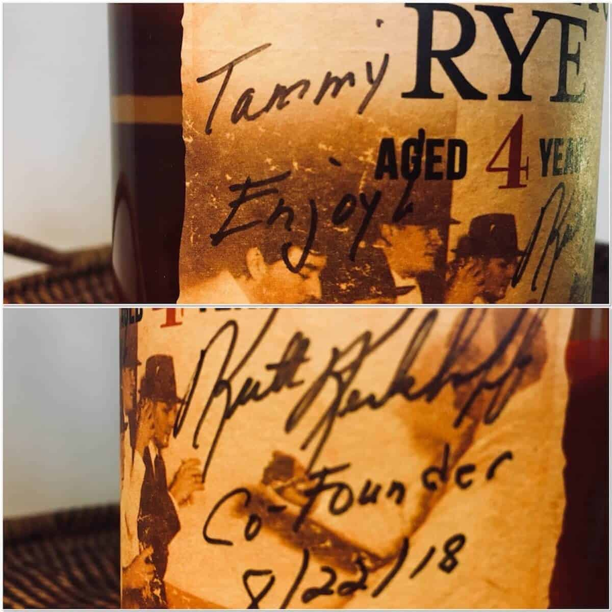 Collage of the Templeton Rye whiskey autographed bottle.