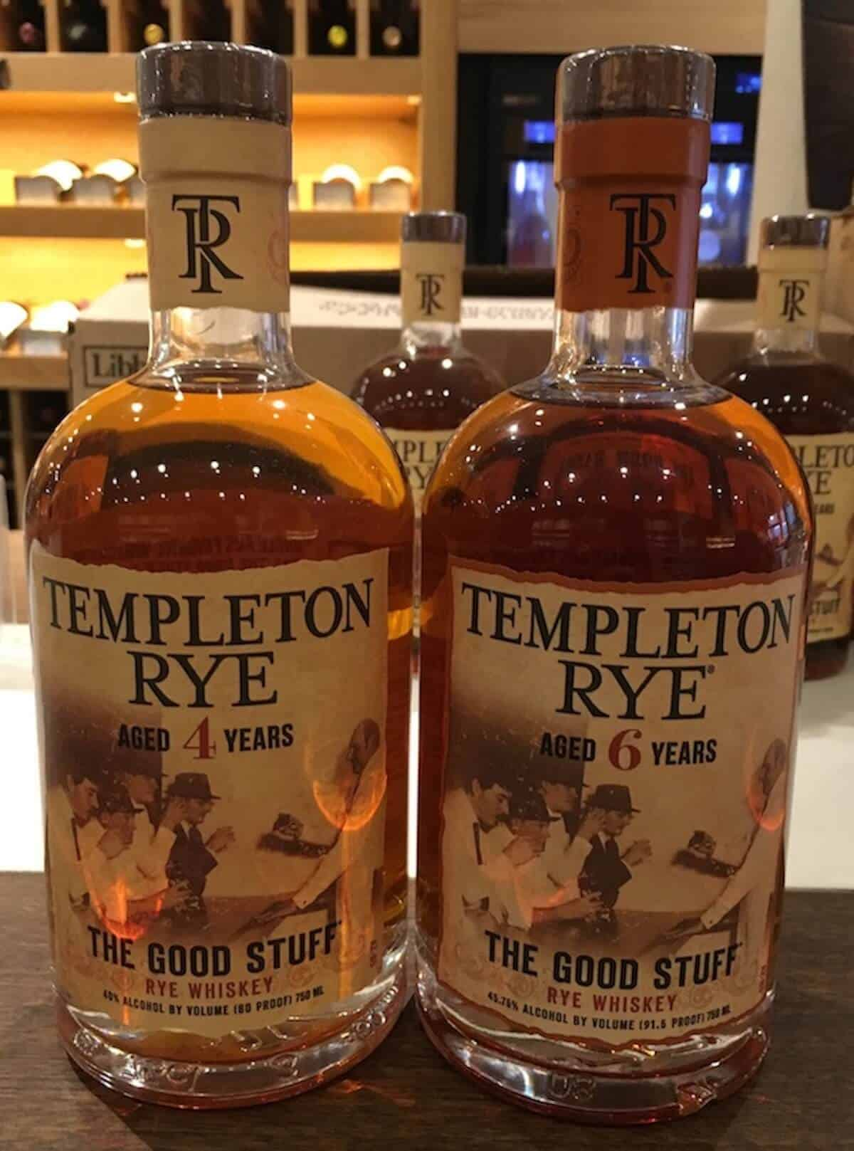 Templeton Rye 4 year & 6 year whiskey in bottles on a counter.