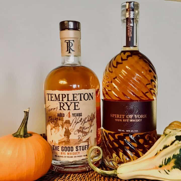 Templeton Rye whiskey and Spirit of York rye bottles