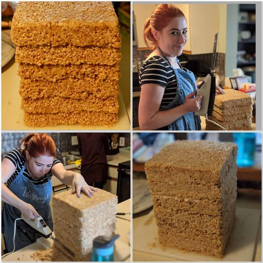 Forming the base of our TARDIS cake