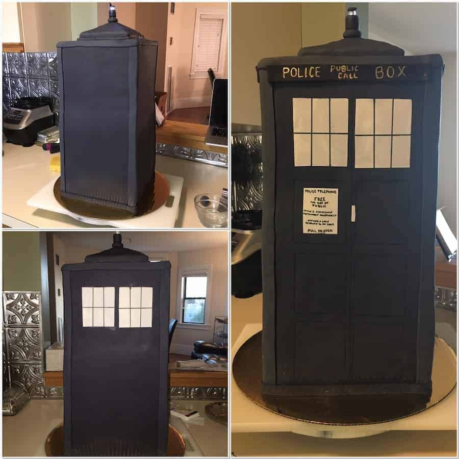 decorating the TARDIS cake