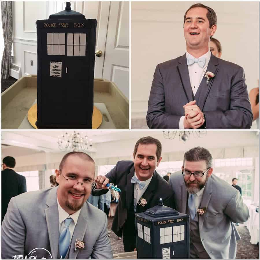 presenting the TARDIS cake to the groom