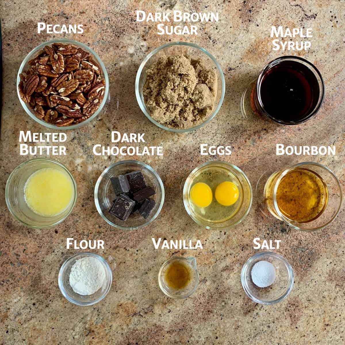 Black Bottom Maple Bourbon Pecan Pie ingredients