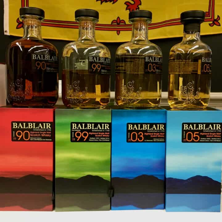 Balblair lineup in bottles on top of their boxes.