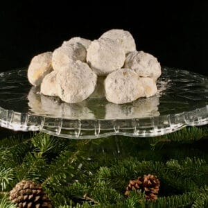 Pecan snowballs on cake stand square